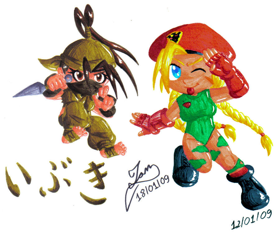 Chibi Ibuki and Cammy by IanDimas
