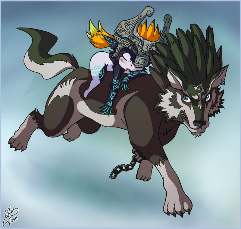 Midna Sleeps on Wolf Link by Ian-the-Hedgehog