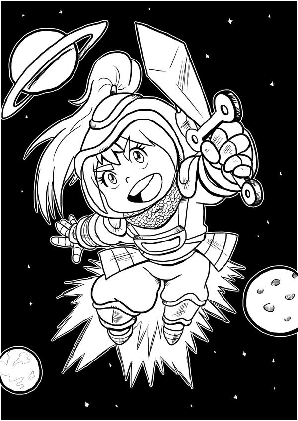 Medieval Spacegirl Pin-up by IanDimas