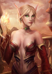 World of Warcraft Fan Art - Blood elf mage by Gengar1991