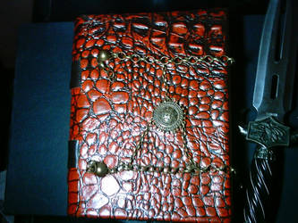 Red Dragon Leather Book front by Ars-Antiqua