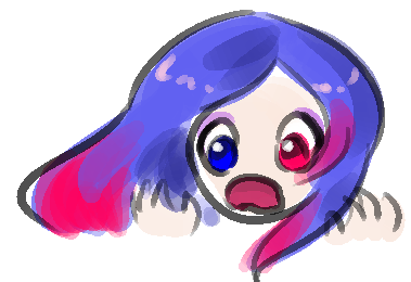 Mary Sue screams in horror. She has brilliant blue hair that transitions to vibrant pink at the ends, one blue eye, and one pink eye. Her skin is ridiculously pale.