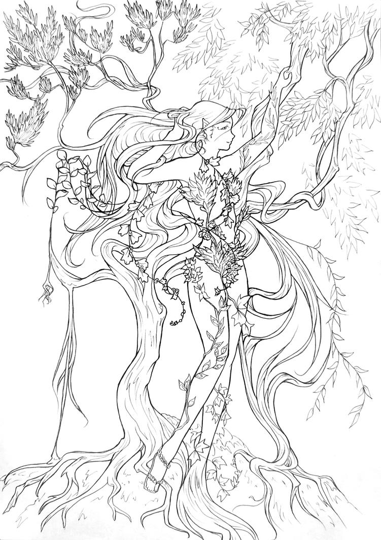 Line Art Nature : Entwinned nature lineart by atelierdereve on deviantart