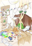 Reading in her room - colored