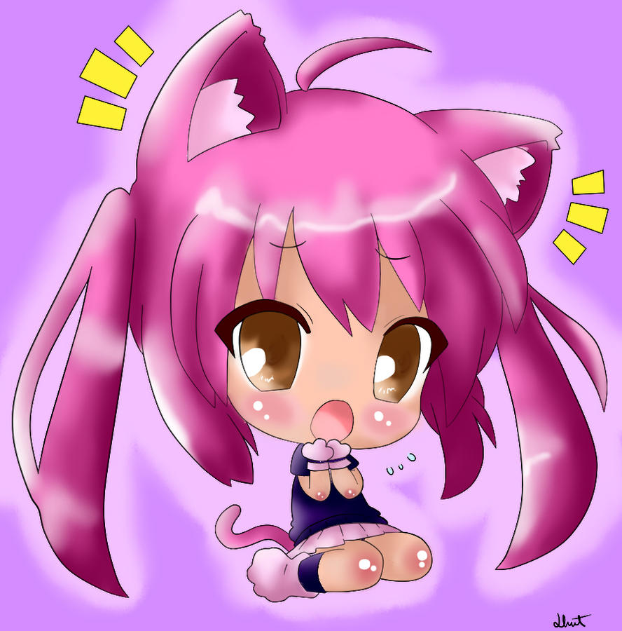 Cute Chibi Kitty Cute Chibi Cat Girl Coloured