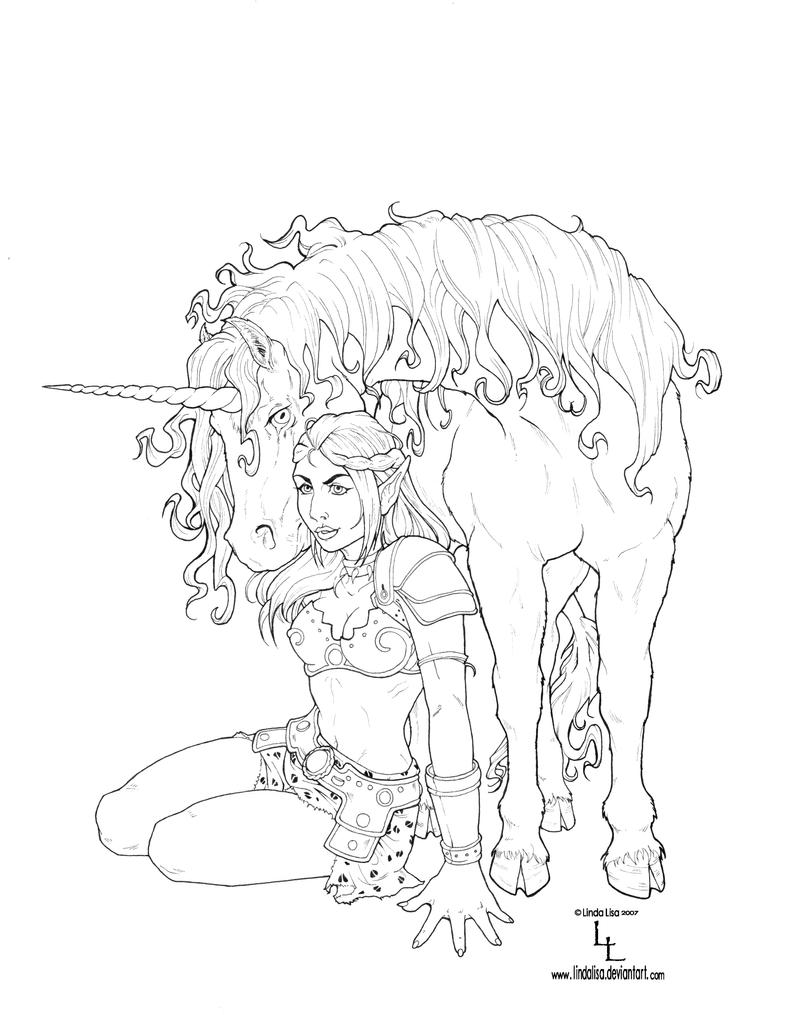 Line Art Unicorn : Unicorn and elf line art by lindalisa
