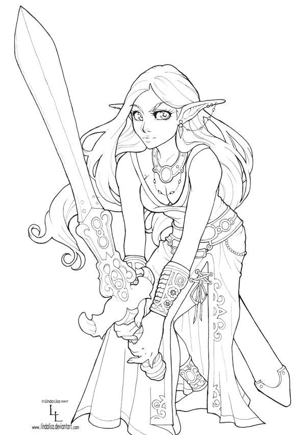 Drawing Lines In Dreamweaver : Drow elf line art by lindalisa on deviantart