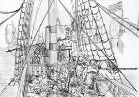 Dismasted yet Untamed, Battle of Gibraltar, 1621 by FritzVicari