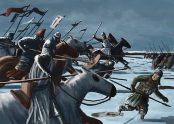 Milites' charge, Rodenpois, Livonia, 1205