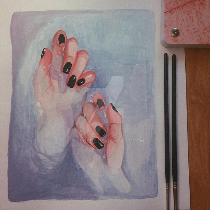 Blue by itslopez on deviantart for Watercolor paintings of hands