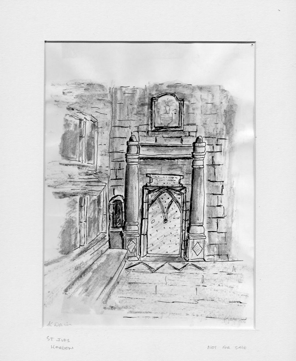 Door pencil drawing - Pencil Drawing Of Old St Ives Mansion Door By Santelder Door Pencil 12997378 Door Design