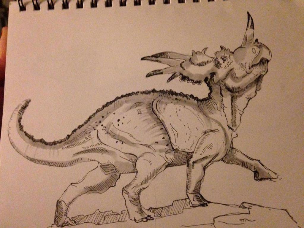 Day #15  Inktober -  Styracosaurus by Ginger-Ketchup