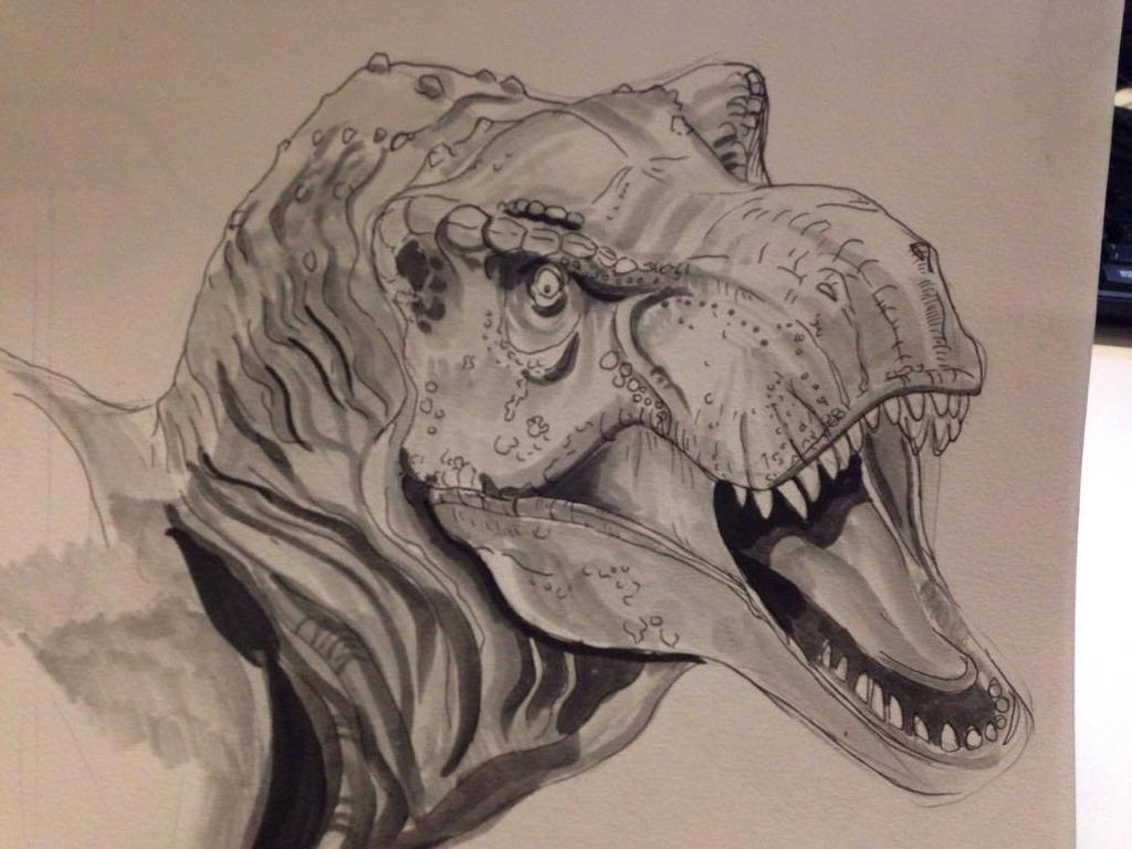 Inktober Day #17 - Rex Rawr by Ginger-Ketchup