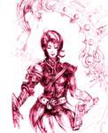 Gunner Girl Pen Sketch