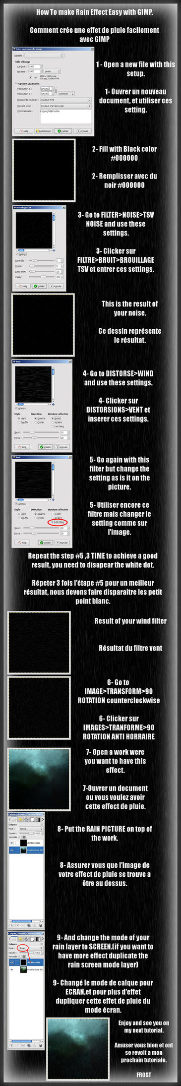 Rain effect easy GIMP FR ENG by FrostBo