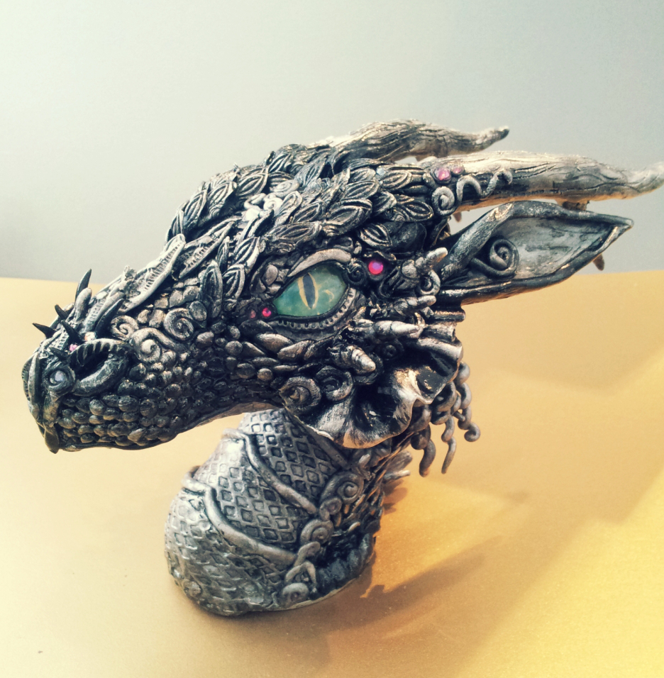 Silver Black Dragon Bust by AstridMakosla