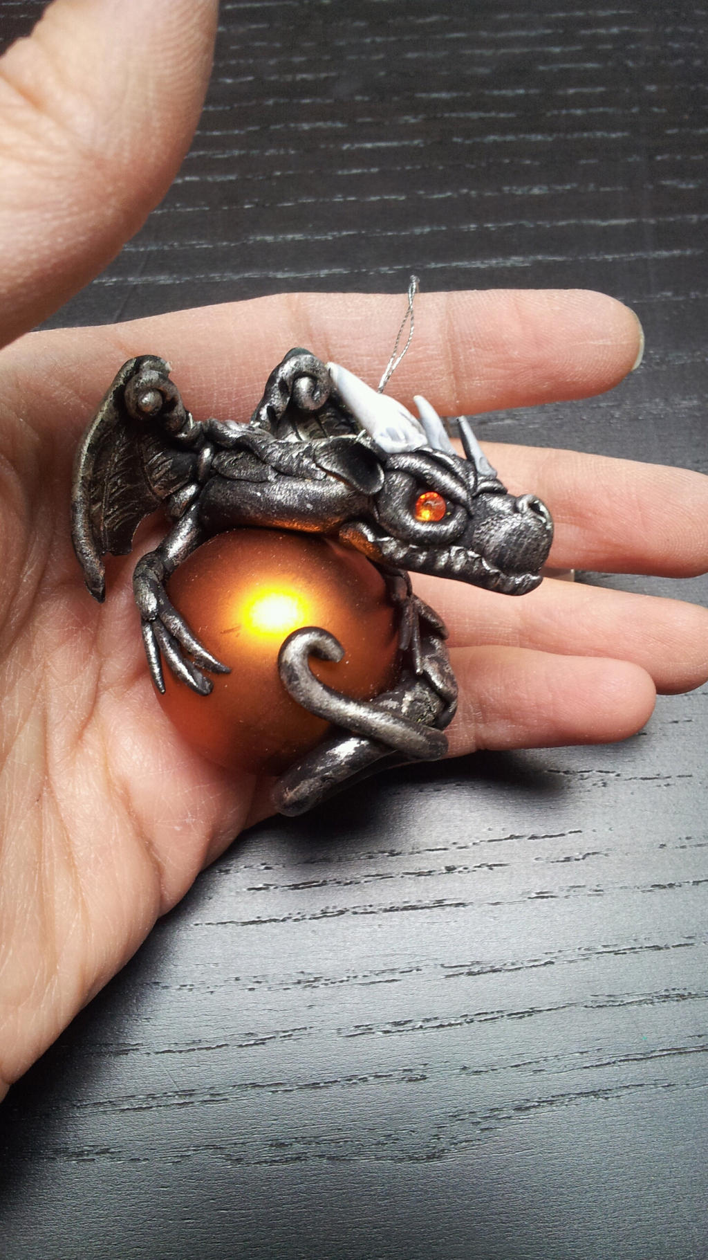 Silver Black Dragon Christmas Ornament by AstridMakosla on DeviantArt