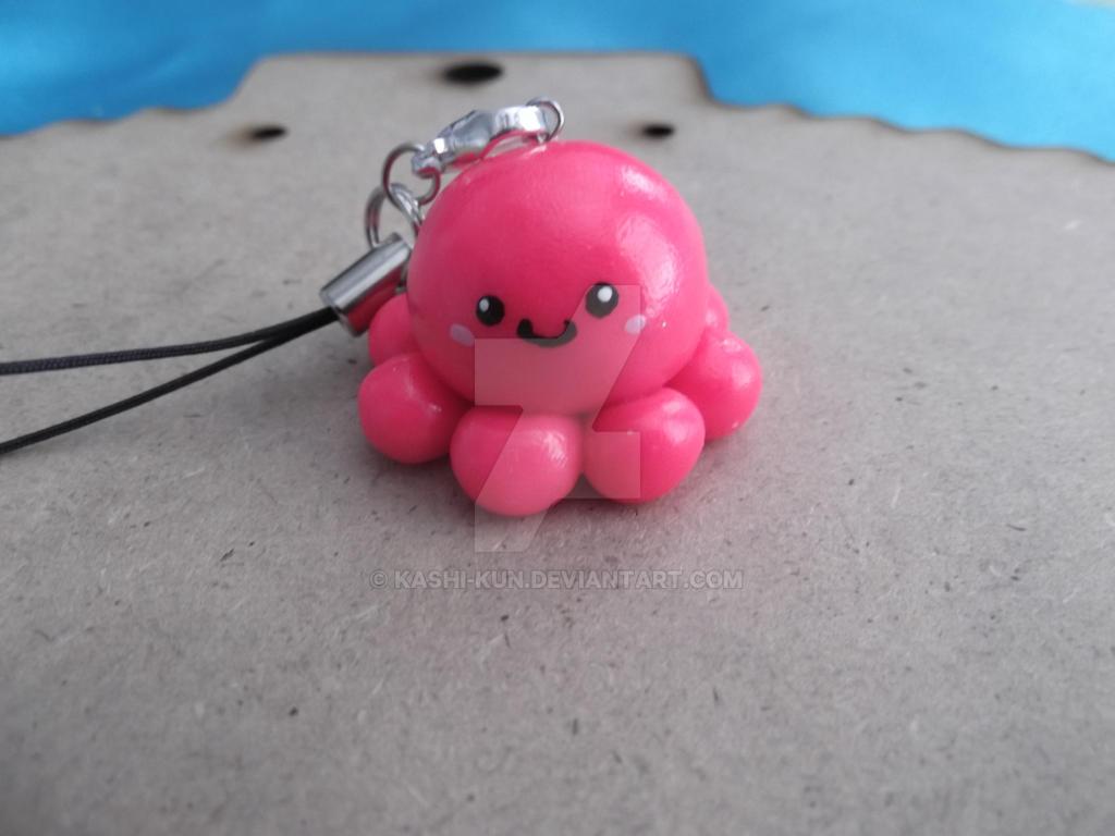 Pink Octopus phone charm by Kashi-kun