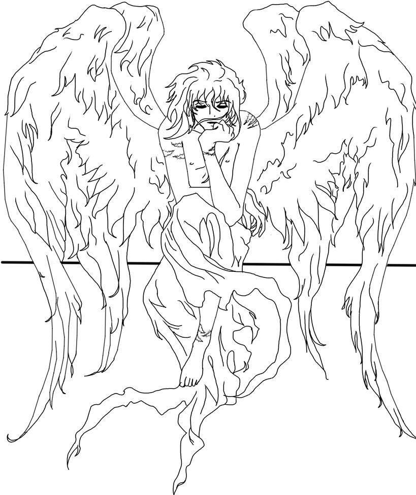 My 2 winged angel line art by Kashi-kun
