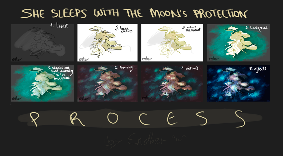 Process of [She sleeps with The Moon's Protection] by Endber