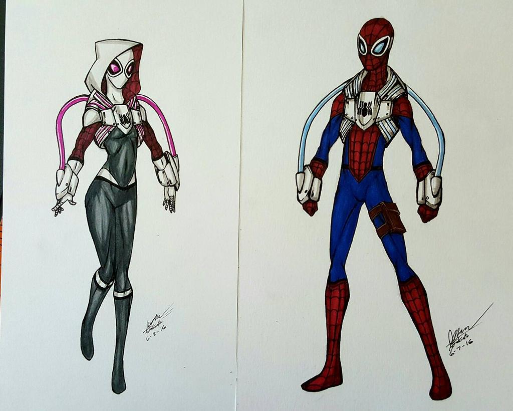 if overwatch spider man and spider gwen by jakusto on deviantart