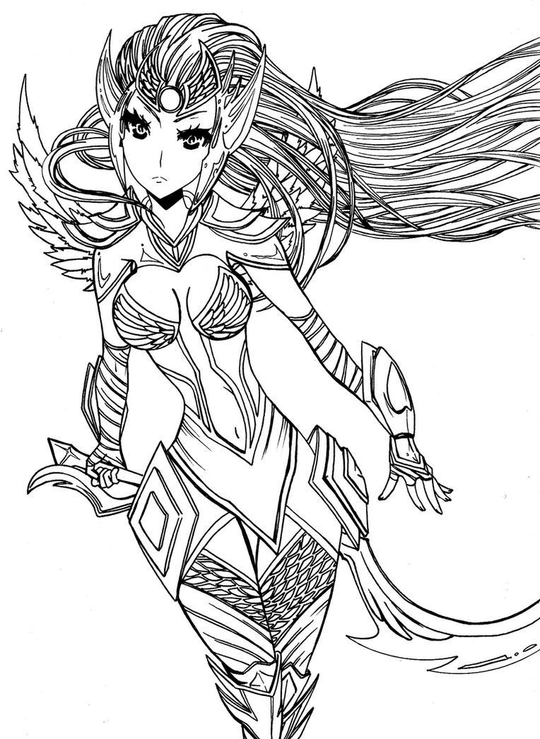 League of Legends Dark Valkyrie Diana skin by zelphie00