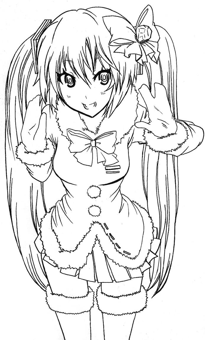 hatsune miku coloring page by stacherabbit on deviantart