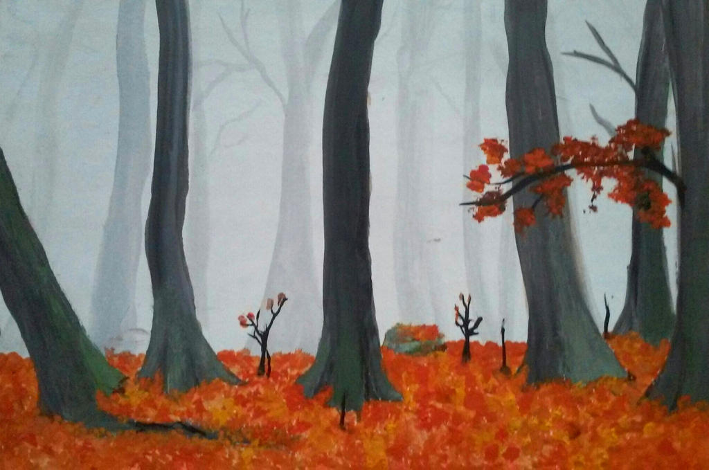 Autumn foggy forest by Fisnes