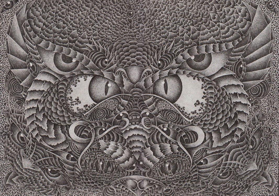 pointilism owl by pennyu