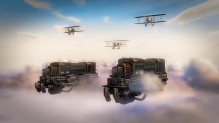 Escorting The Sky Trains by xanathon