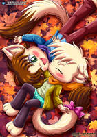 A Quick Smooch In Pile Of Leaves - Little Tails by TomFraggle