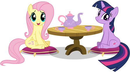 Tea Time With Fluttershy And Twilight by TomFraggle