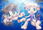 Siblings Swimming Underwater - Little Tails