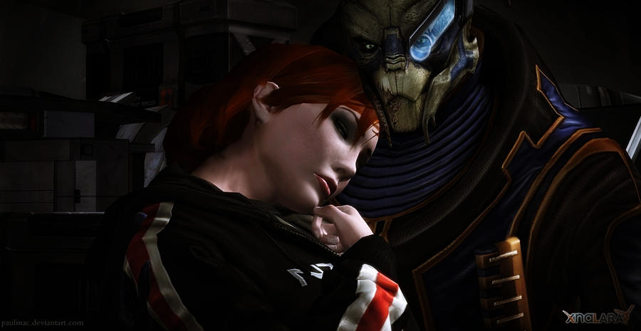 She felt good in his arms.  Garrus and Shepard by paulina1002