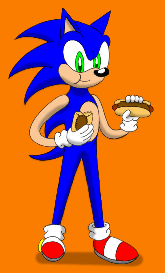 Sonic Eating A Chili Dog In A Wheelchair