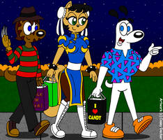 John, Kitty, And Dudley: Trick-Or-Treat Trio