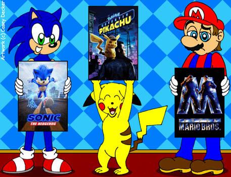 Sonic, Pikachu, And Mario: Video Game Movies Trio