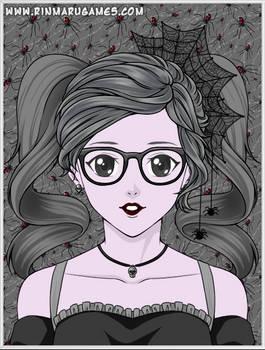 Creepy Katie! My Black And White Cartoon OC