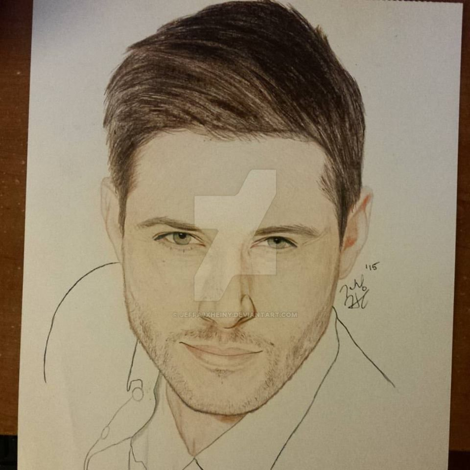 Jensen Ackles Pencil Drawing by jeffa7xheiny
