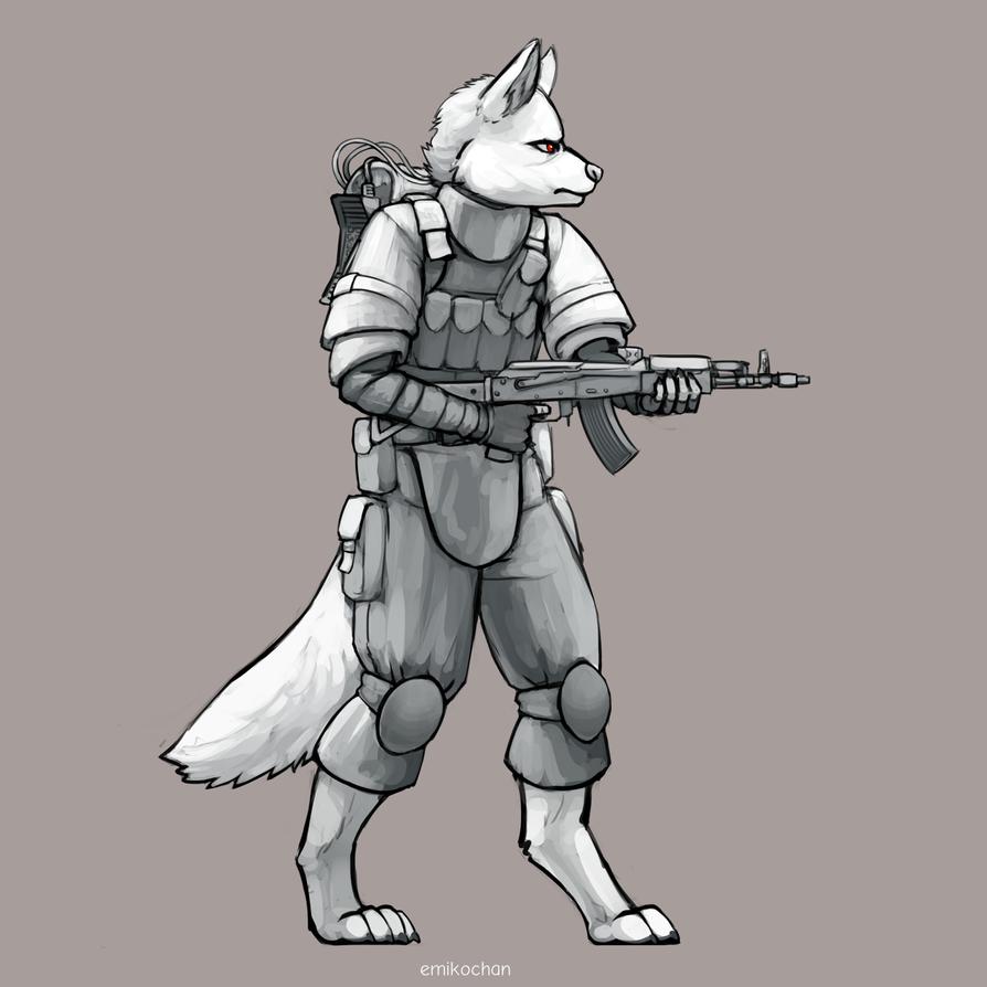 Shaded Sketch Commission - Mercenary by emikochan13