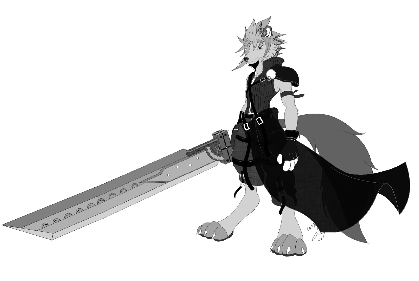 Anthro Wolf Wallpaper Cloud Strife Anthro Wolf by