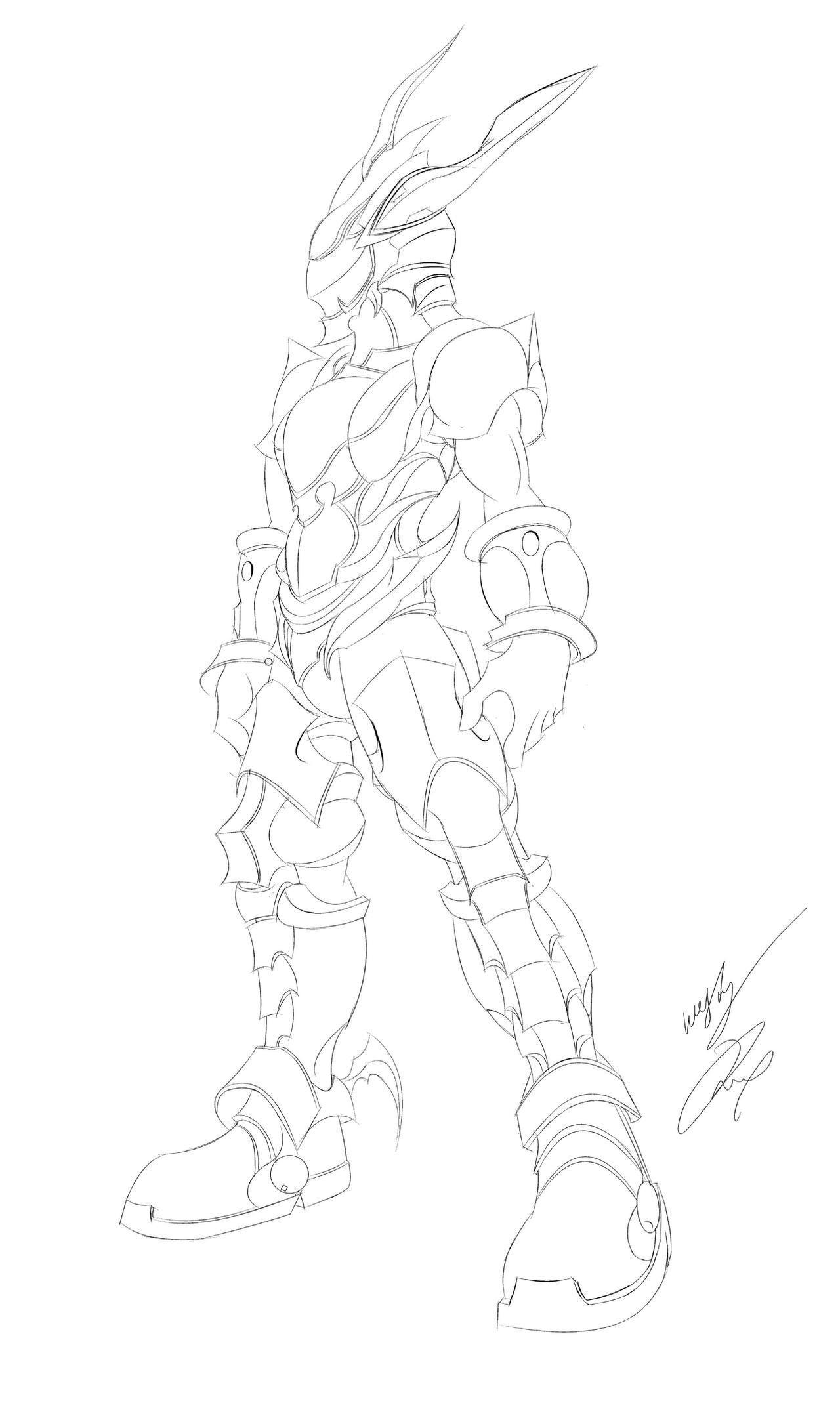 Line Drawing Knight : Bahamut knight line art by gunzcon on deviantart
