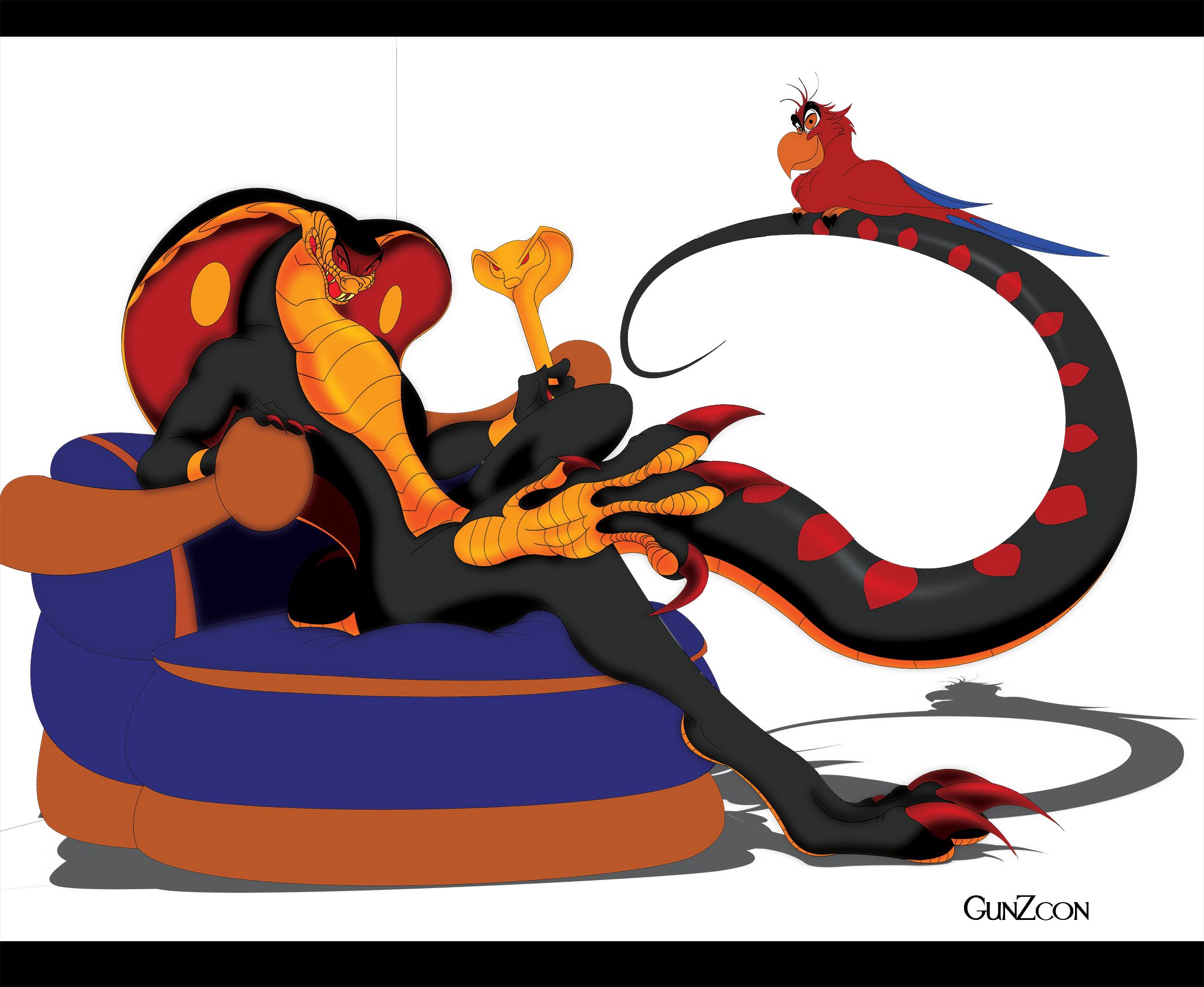 Jafar on the throne color by gunzcon on deviantart - Serpent aladin ...