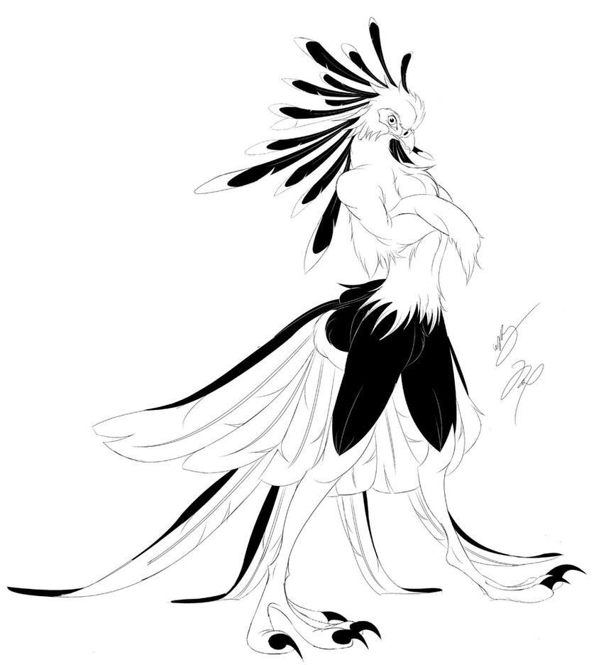 Anthro Secretary Bird Returns by GunZcon