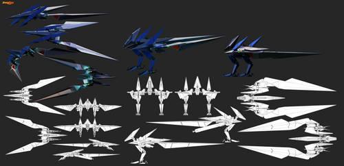 FX-4000 v3 Prototype Arwing final render sheet by GunZcon