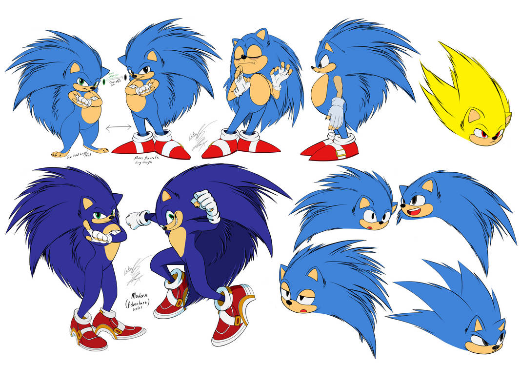 Sonic The Hedgehog Illustration sheet (revised) by GunZcon