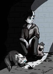 Me? Feeding stray cats? by Zamietka