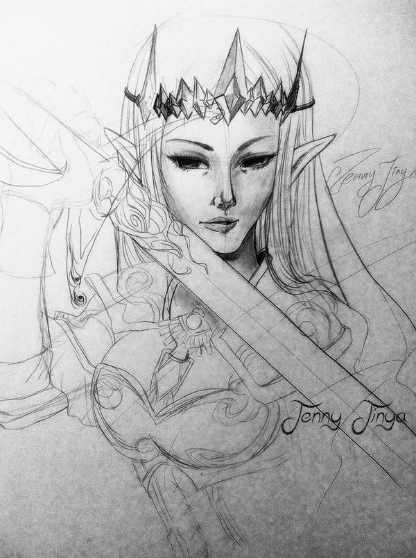 SKETCH Hyrule Warriors ZELDA by JennyJinya