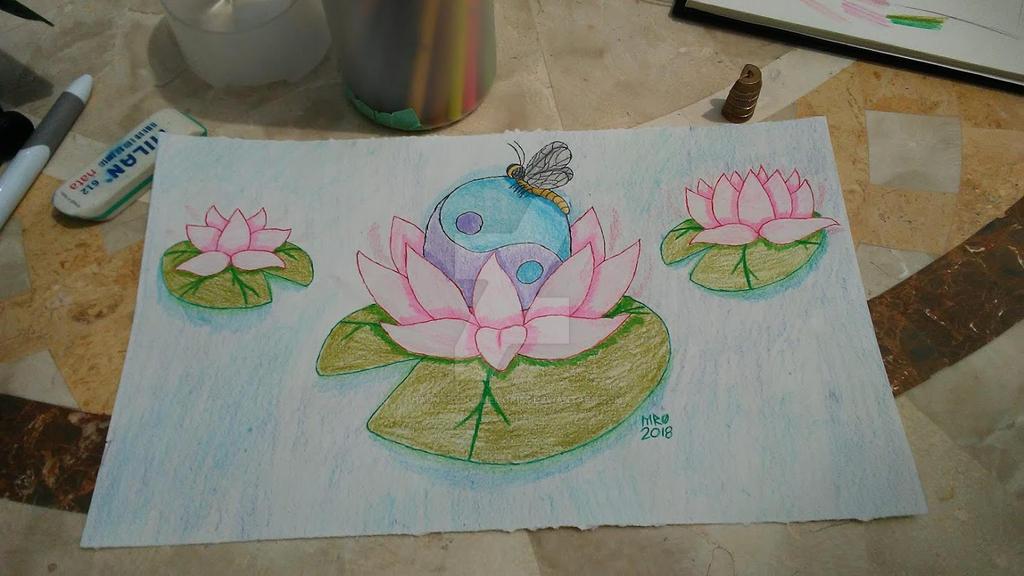 Yin Yang Lotus Drawing By Hauntsyourmemories On Deviantart