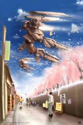 Sakura in the Sky by MeganeRid